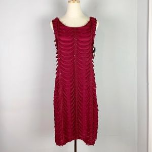 R&M Richards Vintage Wine Red Ruffled Party Dress